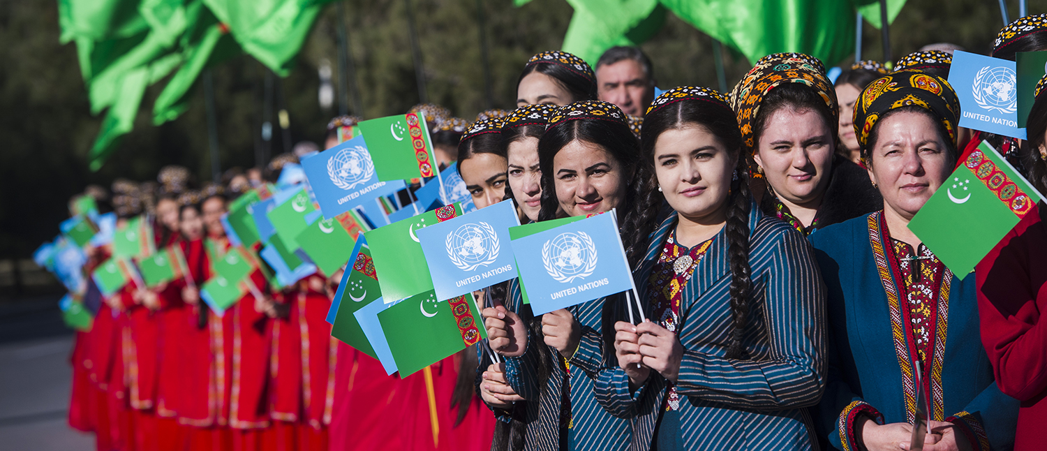Young people celebrating the opening of the new United Nations House in Ashgabat, Turkmenistan.