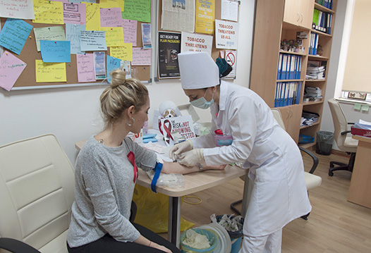 One participant gets tested for HIV during the celebration of World AIDS Day in Turkmenistan.