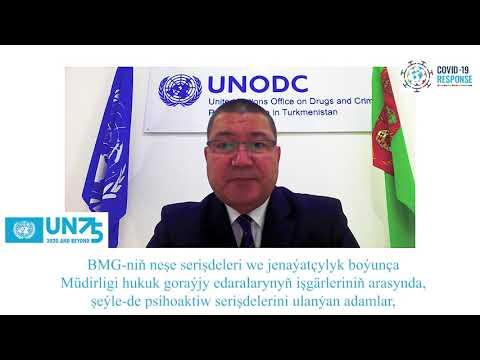 Türkmenistanda BMG-niň Neşe seriişdeleri we jenaýatçylyk boýunça Müdirliginiň ýolbaşçysy Çary Ataýewiň BMG-niň 75 ýyllygyna bagyşlanan wideo beýany